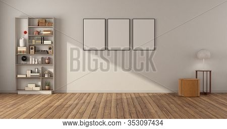 Empty Minimalist Living Room With Bookcase Hardwwod Floor And White Wall - 3d Rendering