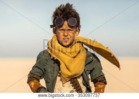 Post-apocalyptic Warrior Boy Outdoors In Desert Wasteland