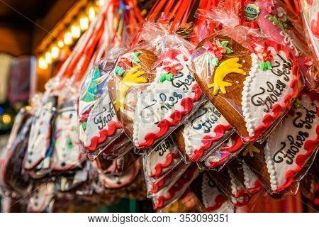 Gingerbread Hearts At German Christmas Market