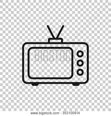 Tv Icon In Flat Style. Television Sign Vector Illustration On White Isolated Background. Video Chann