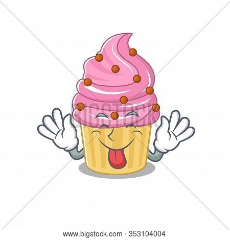 Funny Strawberry Cupcake Mascot Design With Tongue Out