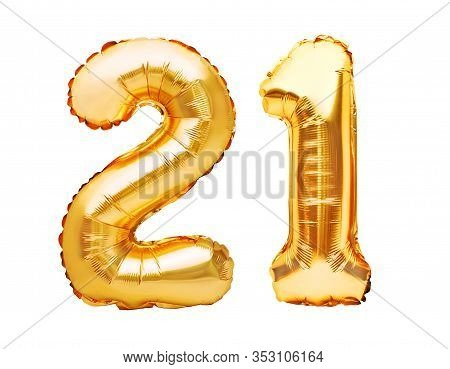 Number 21 Twenty One Made Of Golden Inflatable Balloons Isolated On White. Helium Balloons, Gold Foi
