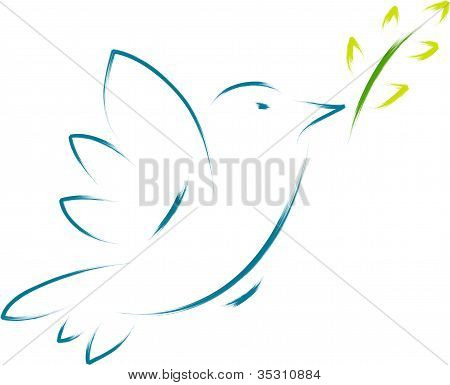 Peace Dove With Flower