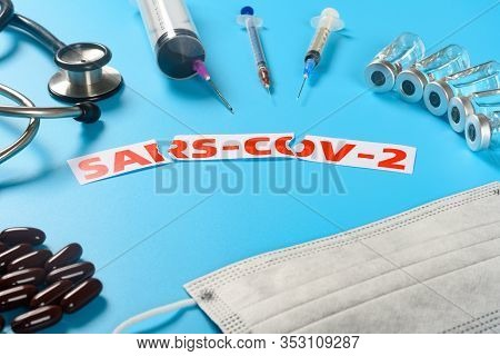 Side View Sars Cov 2 Surrounded By Medical Things Concept Of Fighting With The Sars Cov 2