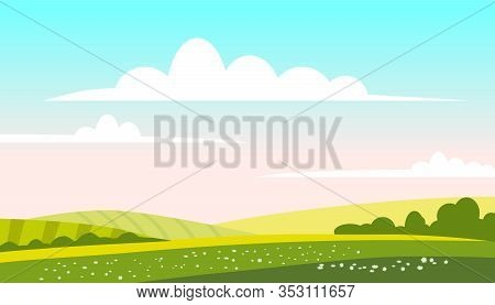 Rural Landscape Green Hills Fields, Nature, Bright Color Blue Sky. Countryside Scenery Panorama Agri