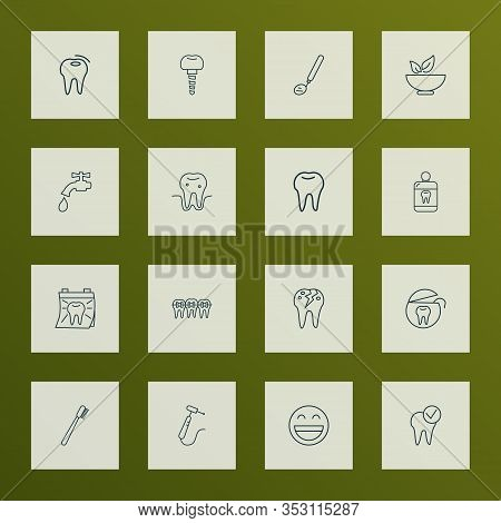 Enamel Icons Line Style Set With Cracked Tooth, Bad Tooth, Dental Mirror And Other Tap Elements. Iso