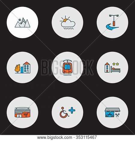 City Icons Colored Line Set With Tramway, Restaurant, Hotel And Other Cloud Elements. Isolated Vecto