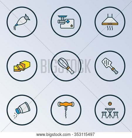 Gastronomy Icons Colored Line Set With Kitchen Hood, Bbq Spatula, Kitchen Table And Other Extractor