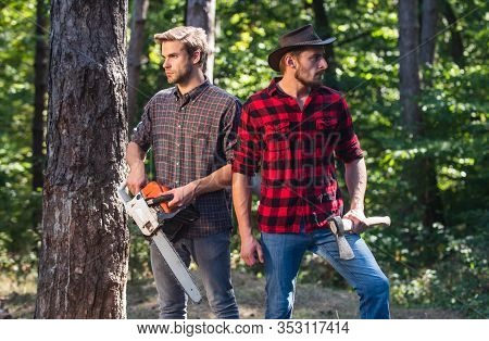 Hiking In Deep Wood. Forest Care At Vacation. Summer Or Spring Activity. Man Farmers Relax In Forest