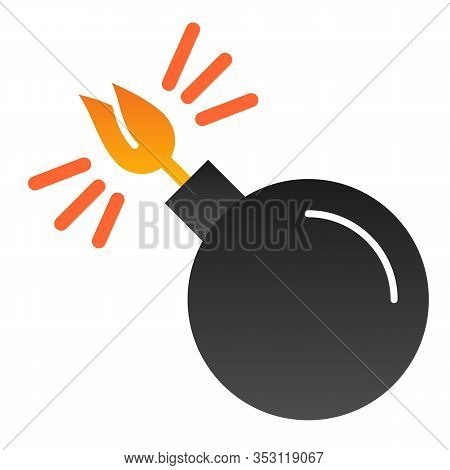 Black Sphere With Cord Lit Flat Icon. Bomb With Lit Wick Vector Illustration Isolated On White. Boom