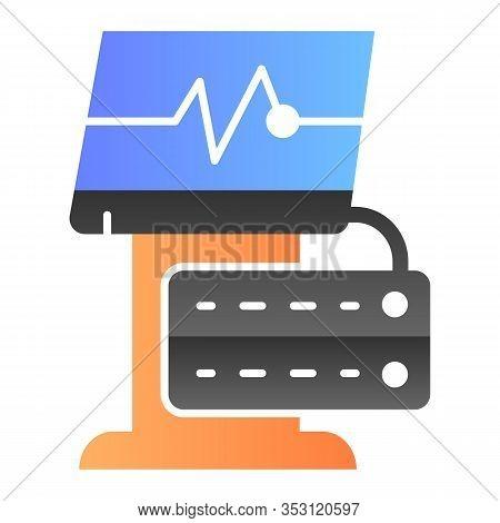 Ekg Device Flat Icon. Medical Monitor Vector Illustration Isolated On White. Electrocardiogram Machi