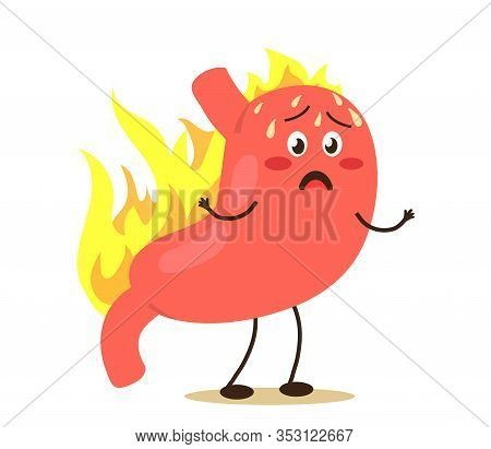 Sick Stomach On A White Background. Heartburn. Vector Illustration.