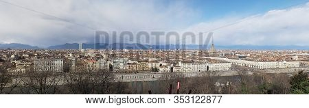 Wide Panoramic Aerial View Of Turin