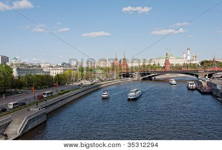 Kind to the Moscow Kremlin Grand Kremlin Palace Cathedrals and quay Moskva River poster