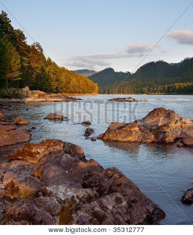 Beautiful evening landscape with the river