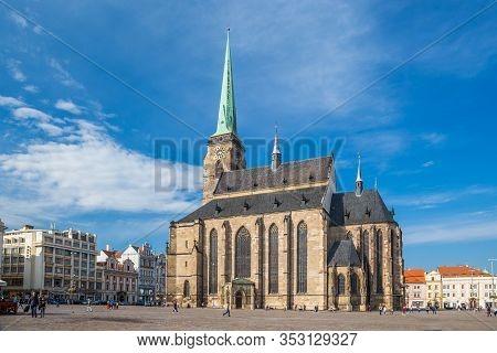 Plzen, Czech Republic, October 2018 - Gothic Cathedral Of St. Bartholomew In Plzen Town, West Bohemi