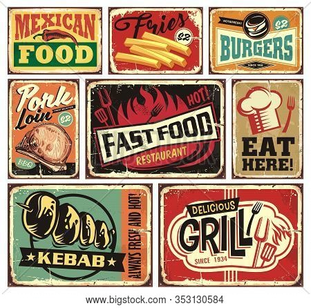 Collection Of Retro Food Restaurant Signs And Posters. Mexican Food, Burgers, French Fries, Kebab, F