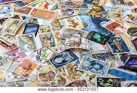Dolgoprudny, Moscow Region, Russia. 02-24-2020. A Collection Of Postage Stamps. A Large Number Of Po