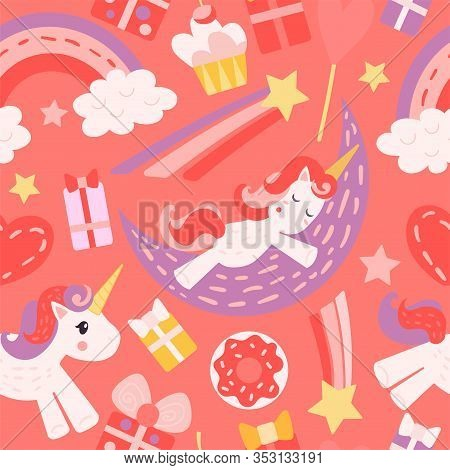 Seamless Pattern With Unicorns. Red And Pink Colors. A Unicorn Sleeps On The Moon, A Unicorn Runs, A