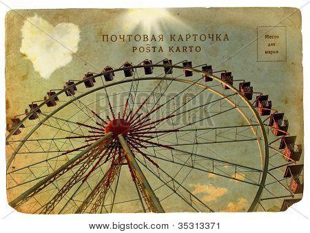 Old Postcard With A Big Ferris Wheel.