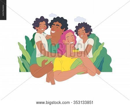 Happy International Family With Kids -family Health And Wellness -modern Flat Vector Concept Digital