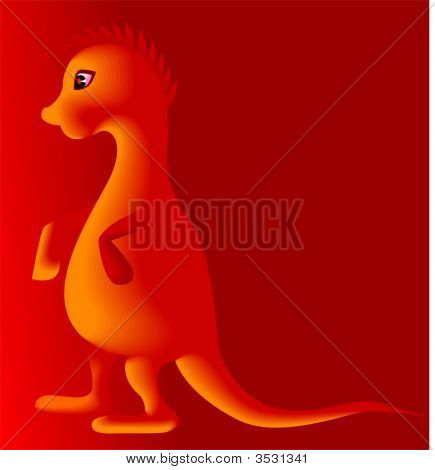 Illustration of a cartoon dinosaur in red background poster
