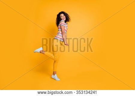 Full Length Body Size Profile Side View Of Nice Attractive Cheerful Cheery Girlish Shy Wavy-haired G