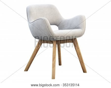White Fabric Chair With Wooden Legs. 3D Render