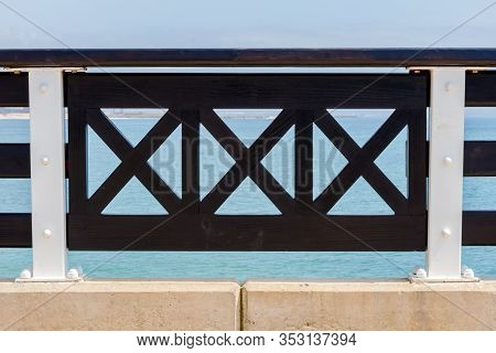 Port Elizabeth, South Africa - February 01 2020: Abstract Close Up View Of Handrail On Balcony At Sh