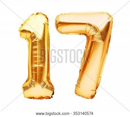 Number 17 Seventeen Made Of Golden Inflatable Balloons Isolated On White. Helium Balloons, Gold Foil