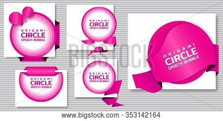 Circle Speech Bubble. Origami Dialogue Banner For Your Message. Special Offer. Discount Tag, Badge,