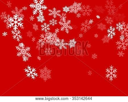 Snow Flakes Falling Macro Vector Graphics, Christmas Snowflakes Confetti Falling Scatter Banner. Win