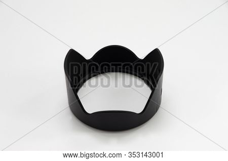 Slr Camera  Black Sunshade On White Background, Foto