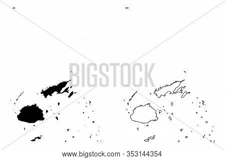 Republic Of Fiji (melanesia, South Pacific Ocean) Map Vector Illustration, Scribble Sketch Fiji (vit