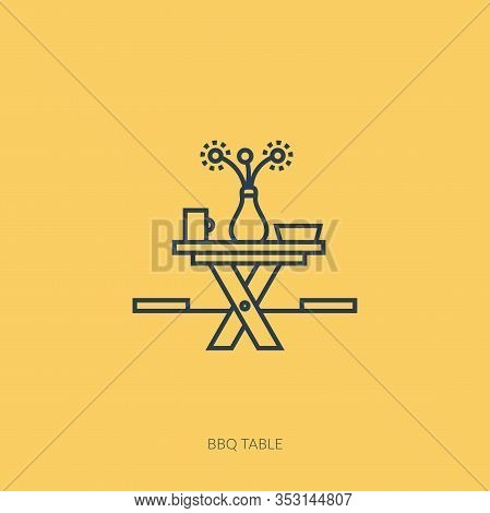 Vector Outline Icon Of Barbecue And Picnic - Wooden Picnic Table