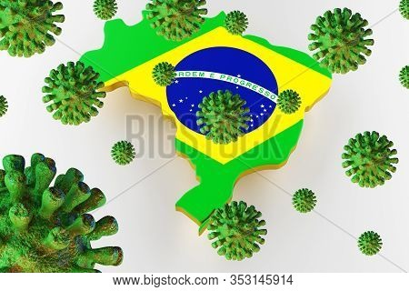 Contagious Hiv Aids, Flur Or Coronavirus With Brazil Map. Coronavirus From Chine. 3d Rendering
