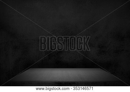 Empty Black Plank Wood Shelf At Black Wall Product Background, Mock Up For Display Or Montage Of Pro