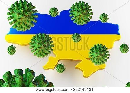 Contagious Hiv Aids, Flur Or Coronavirus With Ukraine Map. Coronavirus From Chine. 3d Rendering