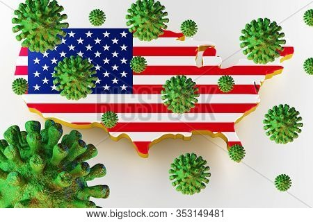Contagious Hiv Aids, Flur Or Coronavirus With Usa Map. Coronavirus From Chine. 3d Rendering