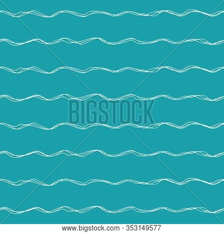 Wavy Lines Seamless Vector Pattern Background. Uneven Thin Hand Drawn Doodle Style Ocean Waves Backd