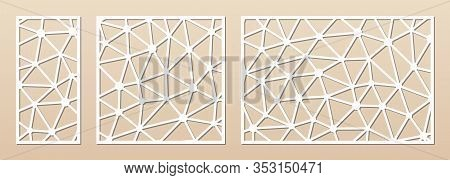 Laser Cut Panel. Cutout Silhouette With Abstract Geometric Pattern With Lines, Polygonal Grid. Decor
