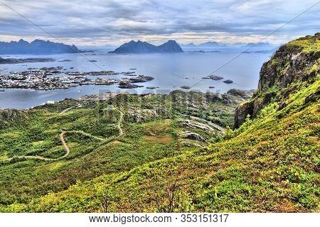 Lofoten Islands In Arctic Norway. Svolvaer Town View On Austvagoya Island. Aerial View Of Boreal Zon