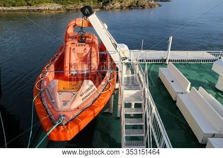 Holm, Norway - July 22, 2015: Lifeboat On The Ferry Ship Across Bindalfjord, Norway. Public Transpor