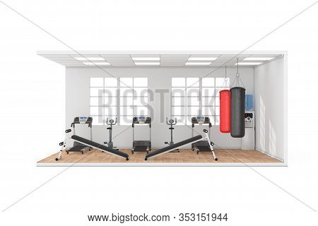 Gymnasium Room Interior With Large Window, Exercise Benches, Leather Punching Bags For Boxing Traini
