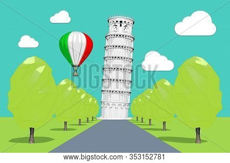 Travel To Italy Concept. Hot Air Balloon In Sky With Italy Flag Over Leaning Pisa Tower In Sketch An