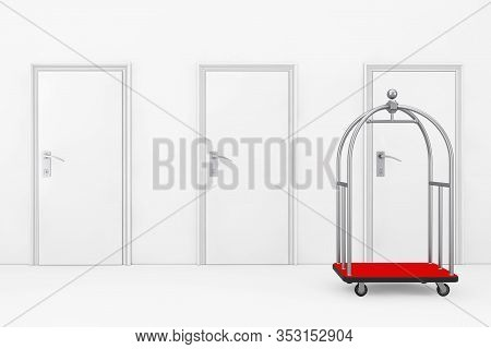 Empty Silver Luxury Hotel Luggage Trolley Cart In Front Of Hotel Room Doors Extreme Closeup. 3d Rend