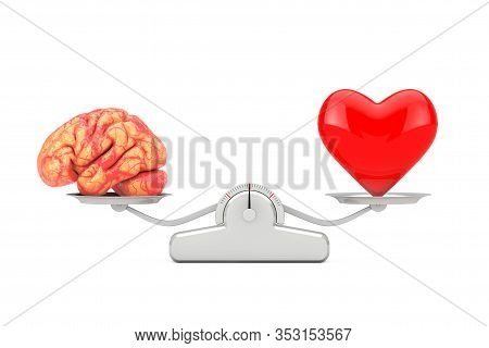 Brain And Red Heart Over Simple Balance Scale On A White Background. 3d Rendering