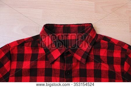 Red Flannel Plaid Shirt Texture. Tartan Scottish Pattern Clothing, Casual Trendy Squared Jacket, Clo