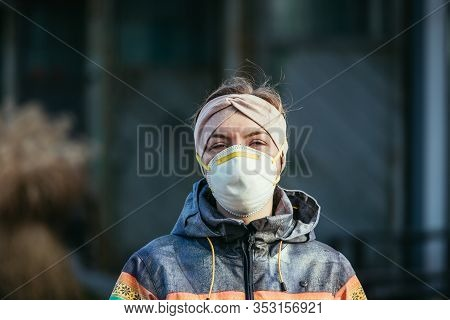 Flue And Corona Safety Concept. Woman Wearing Face Mask To Protect Herself, Outdoors.
