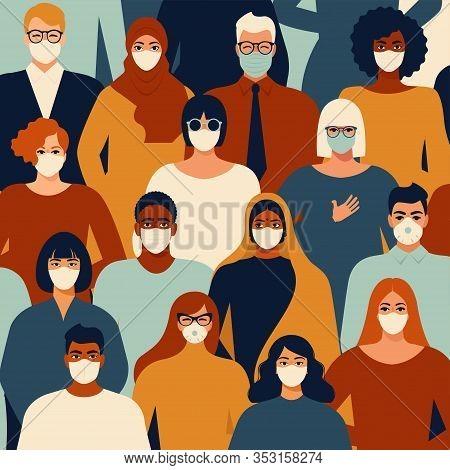 Coronavirus In China. Novel Coronavirus People In White Medical Face Mask. Concept Of Coronavirus Qu